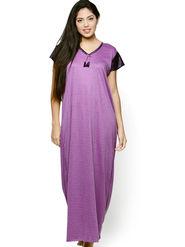 Klamotten Cotton Solid Nightwear - Purple - YY64