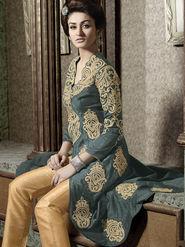 Viva N Diva Semi Stitched Pure banarasi Floral Embroidered Semi stitched Suits Kyraa-9002