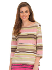 Clovia Cotton Striped T-Shirt -LT0104P22