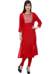 Lavennder Plain Poly Cotton Red Kurti _LW-28039