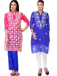 Pack of 2 Lavennder Embroidered Georgette Kurti -la02