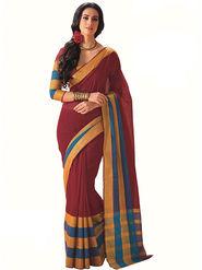 Nanda Silk Mills Plain Cotton Maroon Saree -Laurel