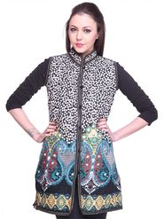 Lavennder Cotton Quilt Printed Jacket - Black and White - LW-617