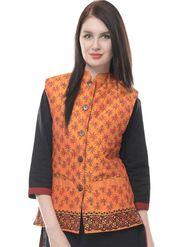 Lavennder Silk Quilt Printed Jacket - Orange and Brown - LW-4146