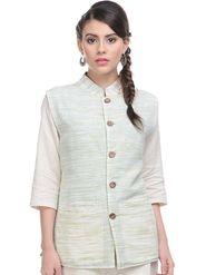 Lavennder Khadi Plain Nehru Jacket - Off White