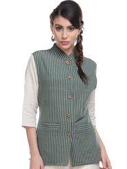 Lavennder Khadi Line Print Nehru Jacket - Olive Green