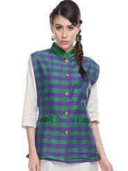 Lavennder Silk Checked Nehru Jacket - Green and Purple