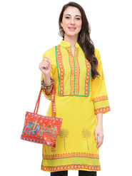 Lavennder Crepe And Dupion Silk Printed Kurti With Hand Bag - LK-62001
