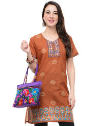 Lavennder Cotton And Dupion Silk Embroidered Kurti With Hand Bag - LK-62020
