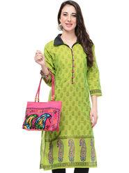 Lavennder Cotton and Dupion Silk Printed Kurti with Hand Bag - LK-62024