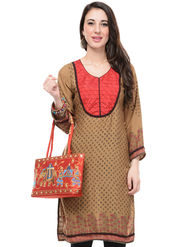 Lavennder Cotton and Dupion Silk Printed Kurti with Hand Bag - LK-62025