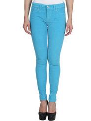 Levis Solid Corduroy Slim Fit Sky Blue Women Jeggings -os02