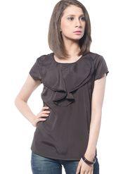 Meira Poly Crepe Solid-Top - Brown - MEWT-1174
