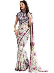 Nanda Silk Mills Designer Printed Georgette Sarees With Embroidered Blouse Piece  _MK-2011