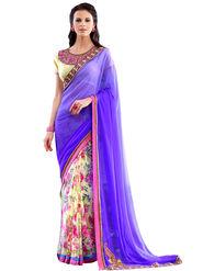 Nanda Silk Mills Designer Printed Georgette Sarees With Embroidered Blouse Piece  _MK-2013