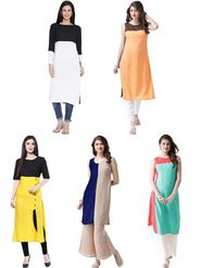 Pack of 5 Shonaya Semi Stitched Poly Cotton Kurtis -s01