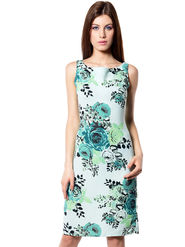 Meira Printed Crepe Women's Dress - Light Green _ MEWT-1180ightGreen