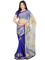 Nanda Silk Mills Faux Georgette Embroidered Saree - Blue - NSM-FILMSTAR