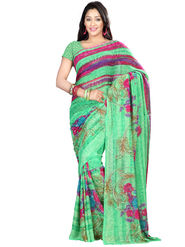 Nanda Silk Mills Faux Georgette Printed Saree - Green - NSM08