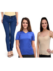 Oleva Combo Of  3 Blue Denim +  Blue T-Shirt + Cream Spaghetti ONC-34