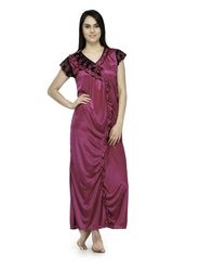 Oleva Satin Plain Nightwear - Pink-ONW_4_7001_DEEPPINK