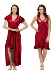 Set of 2 Satin Plain Nightwear-ONW_8_9002_MAROON