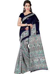 Shonaya Printed Bhagalpuri Art Silk Blue & Beige Saree -Pdbhp-01