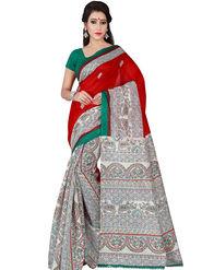 Shonaya Printed Bhagalpuri Art Silk Red & Beige Saree -Pdbhp-02