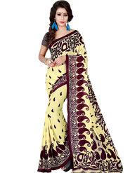 Shonaya Printed Dani Georgette Light Yellow & Maroon Saree -Pdrsb-703