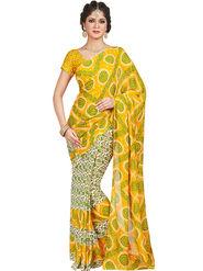 Shonaya Printed Dani Georgette Yellow & White Saree -Pdrsb-712