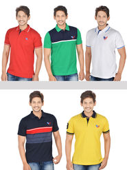 Pack of 5 Cotton Polo Neck T-shirts