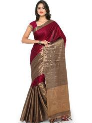 Nanda Silk Mills Handloom Wine & Gold Plain Cotton Silk Saree -nad08