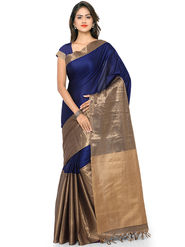 Nanda Silk Mills Handloom Blue & Gold Plain Cotton Silk Saree -nad10