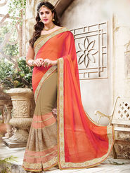 Indian Women Embroidered Georgette Multicolor Saree -Ra21017