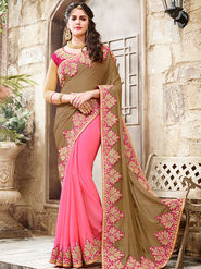 Indian Women Embroidered Jacquard Beige & Pink Saree -Ra21020