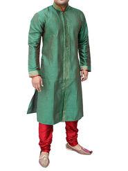 Runako Regular Fit Silk Brocade Kurta Pyjama For Men - Green_RK4013