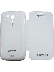 RKA Leather Flip Cover for  Micromax A116 Canvas HD - White