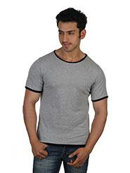 Rigo Plain Round Neck Half Sleeves Slim Fit T-Shirt For Men - Grey & Black Lining