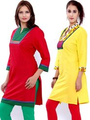Combo of 2 Bazar Villa Cotton Printed Kurtis - BCE2041_42
