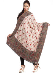 Aapno Rajasthan Pashmina  Off White & Brown Shawl -Sh1416
