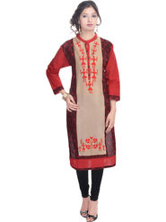 Shop Rajasthan Embroidered Cotton Long Straight Kurti -Sre2231