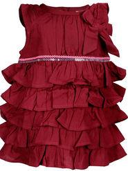 ShopperTree Maroon Ruffled Dress_ST-1378