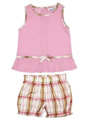 ShopperTree Solid and printed Pink Cotton Twin set-ST-1713