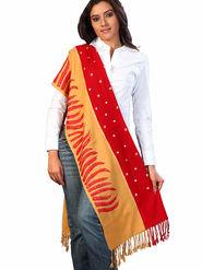 Aapno Rajasthan Pashmina Plain Red & Beige Shawl -St0913