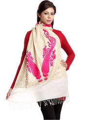 Aapno Rajasthan Pashmina  Off White Shawl -St1442