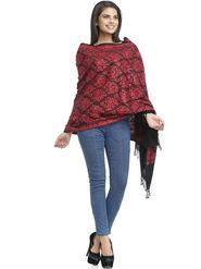 Aapno Rajasthan Pashmina  Red & Black Shawl -St1444