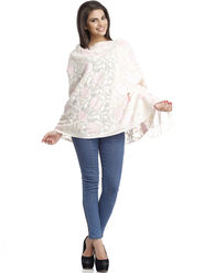 Aapno Rajasthan Pashmina  Off White & Pink Shawl -St1445