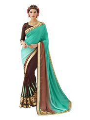 Khushali Fashion Embroidered Georgette Half & Half Saree_KF61