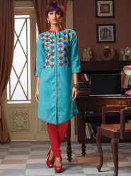 Viva N Diva Poly Linen Floral Embroidery Kurtis -Senorita-Again-7548