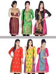 Shivani Pack of 6 Embroidered Unstitched Kurta Material